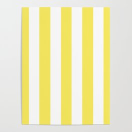 Maize yellow - solid color - white vertical lines pattern Poster
