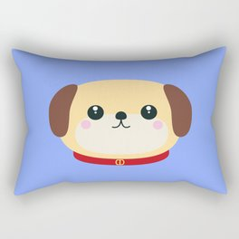 Cute puppy Dog with red collar Rectangular Pillow