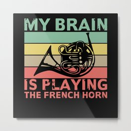 Music Brain playing French Horn Gift Metal Print