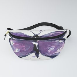 Purple Butterfly Watercolor Abstract Animal Art Fanny Pack