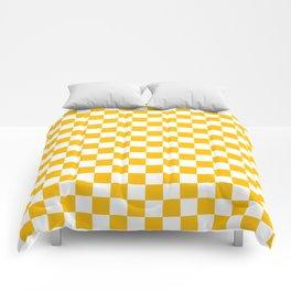 White and Amber Orange Checkerboard Comforters