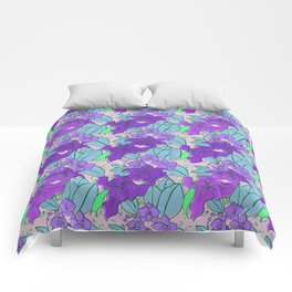 Purple Lilies and Orchids Comforters
