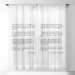For what it's worth - F Scott Fitzgerald quote Sheer Curtain