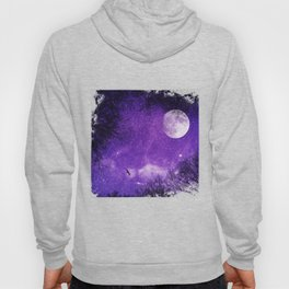 Nightsky with Full Moon in Ultra Violet Hoody
