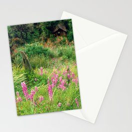 Purple Pink Wild Flowers By Cottage, Papua New Guinea Stationery Cards