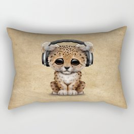 Cute Leopard Cub Dj Wearing Headphones Rectangular Pillow