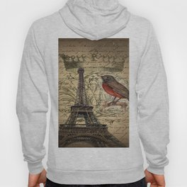I love Paris Shabby chic Robin French Scripts Jubilee Crown Vintage Paris Eiffel Tower Hoody