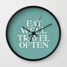 Eat Well Travel Often Blue Wall Clock