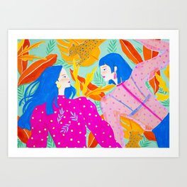 Girls Hanging Out in Garden Art Print