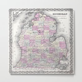 Michigan map print from 1855 Metal Print