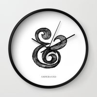 ampersand Wall Clocks featuring Ampersand by Artworks by Pablo Zarate Inc.