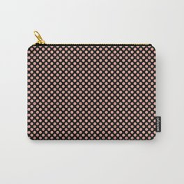 Black and Coral Pink Dots Carry-All Pouch