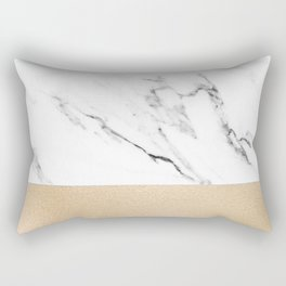 White Marble with Black and Copper Bronze Rectangular Pillow