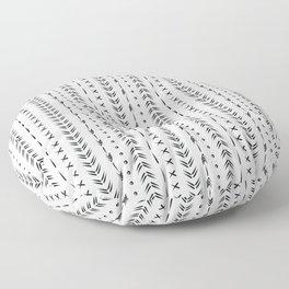 Black and white boho tribal pattern design Floor Pillow