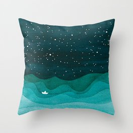 Starry Ocean, teal sailboat watercolor sea waves night Throw Pillow