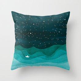 Starry Ocean, teal sailboat watercolor sea waves night Throw Pillow