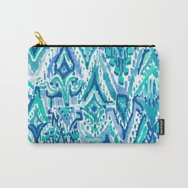 AQUA FRINGE TRIBAL Ikat Watercolor Carry-All Pouch