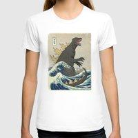 T-shirts featuring The Great Godzilla off Kanagawa by DinoMike