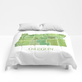 Oregon Counties watercolor map Comforters
