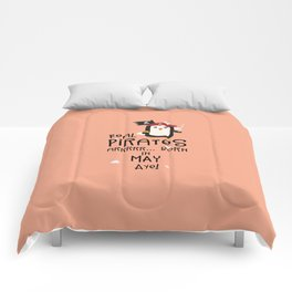 Real Pirates are born in MAY T-Shirt D6bxa Comforters