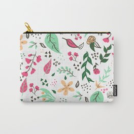 Modern hand drawn spring floral pattern pink green yellow flowers illustration Carry-All Pouch