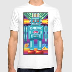 Pixel Robot White Mens Fitted Tee MEDIUM