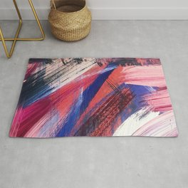 Los Angeles: A vibrant, abstract piece in reds and blues by Alyssa Hamilton Art Rug