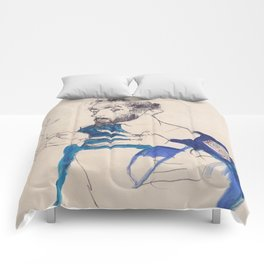 """Egon Schiele """"Gustav Klimt im blauen Malerkittel"""" Comforters"""