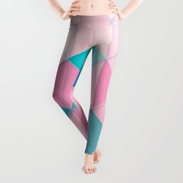 Teal and Peach Tiles and Triangles Pattern Leggings