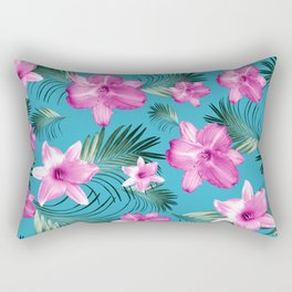 Tropical Flowers Palm Leaves Finesse #3 #tropical #decor #art #society6 Rectangular Pillow