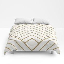 Diamond Series Pyramid Gold on White Comforters