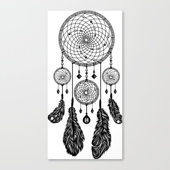 Dreamcatcher (Black & White) Canvas Print