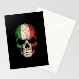Dark Skull with Flag of Italy Stationery Cards