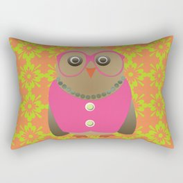 Old Lady Owl in Pink Glasses on Orange and Yellow Rectangular Pillow