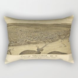 City of Tacoma, Washinton western terminus of N.P.R.R. Puget Sound (1885) Rectangular Pillow