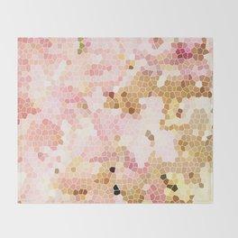 Flower Mosaic Millennial Pink and Golden Yellow Abstract Art   Honey Comb   Geometric Throw Blanket