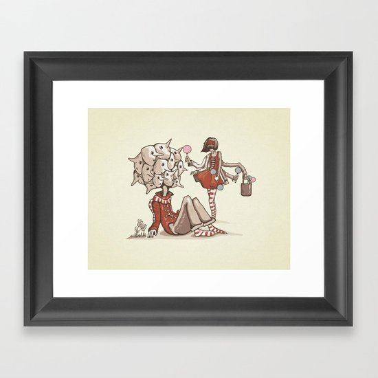 Cheer Up! She Found You Framed Art Print