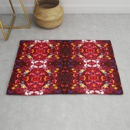 Red abstract mosaic shiny glitter pattern Mandala Rug