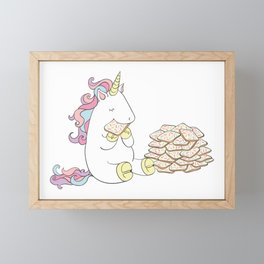 Unicorn loves fairy bread Framed Mini Art Print