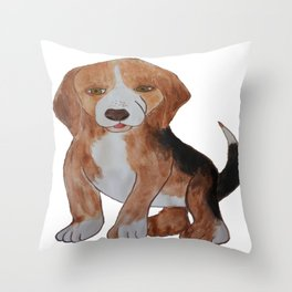 Beagle Water Color Painting Throw Pillow