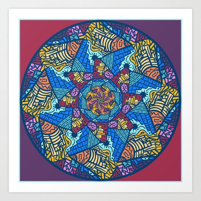 Mountain abstract mandala Art Print