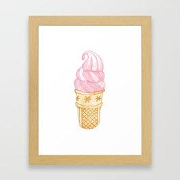 Watercolour Illustrated Ice Cream - Strawberry Swirl Framed Art Print