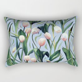Waiting on the Blooming - a Tulip Pattern Rectangular Pillow