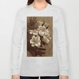 White Lilies and Palm Leaf in brownscale Long Sleeve T-shirt