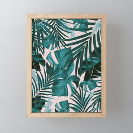 Tropical Jungle Leaves Pattern #3 #tropical #decor #art #society6 Framed Mini Art Print