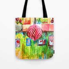 red lamp and shelf Tote Bag