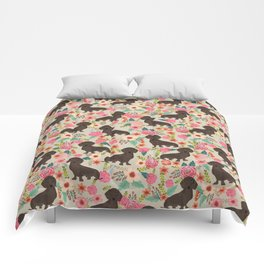 Doxie Florals - vintage doxie and florals gift gifts for dog lovers, dachshund decor, chocolate doxi Comforters