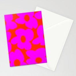 Pink Retro Flowers Orange Red Background #decor #society6 #buyart Stationery Cards