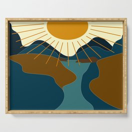 Mountain sunset Serving Tray