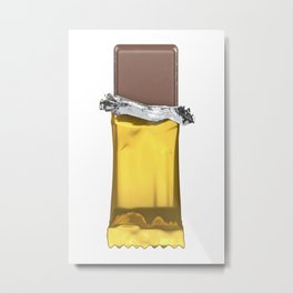 Chocolate candy bar in gold wrapper Metal Print